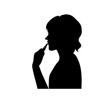 립스틱을 바르는 여성
