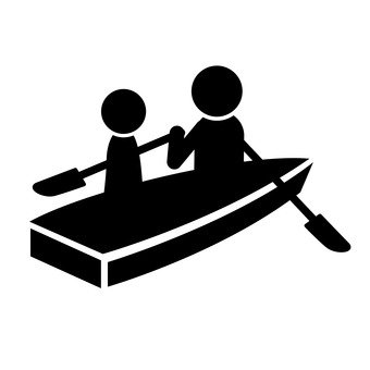 Two people riding a boat
