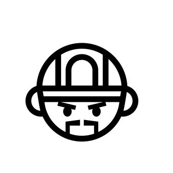 Worker's face