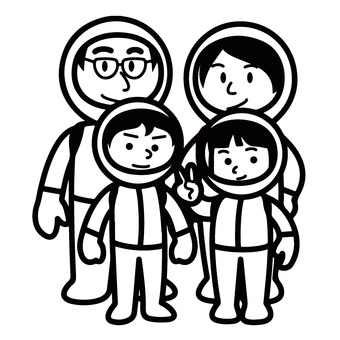 Family in space suit
