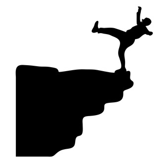 A man about to fall off a cliff
