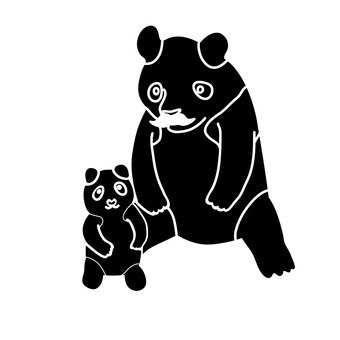 Panda parent and child