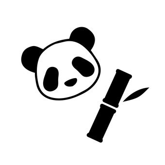 Panda and bamboo grass