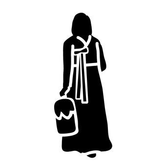 Woman wearing chimachogori