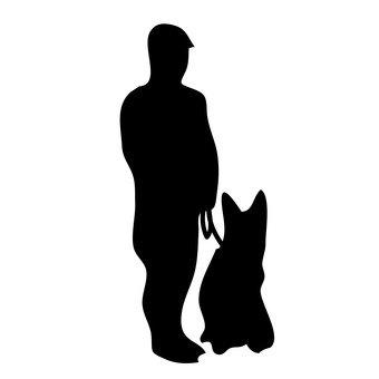 Police dog and policeman