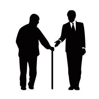 A man holding a hand