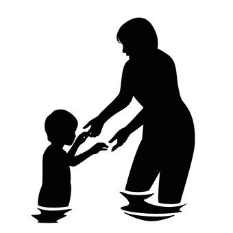 물놀이하는 부모