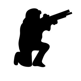 A person with a gun