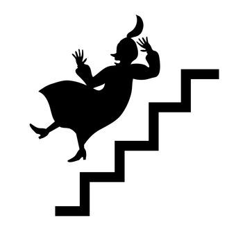 계단에서 떨어지는 여성