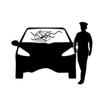 Accident vehicles and police officers