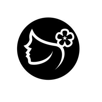 꽃 장식을 붙인 여성