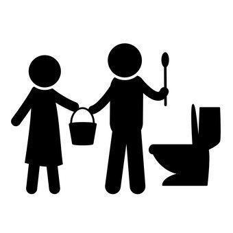 Couple cleaning toilet