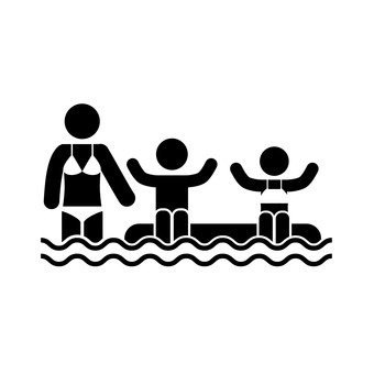 Parent and child playing in the water