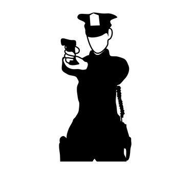 A policeman holding a handgun