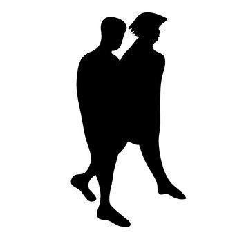 Duas pessoas estão andando