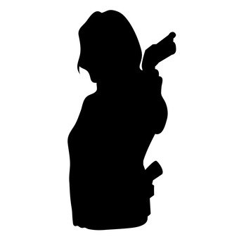 A woman with a gun