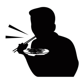Men eating with chopsticks
