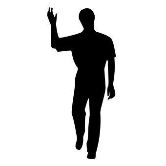 손을 올리는 남자