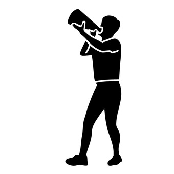 A man cheering with a megaphone
